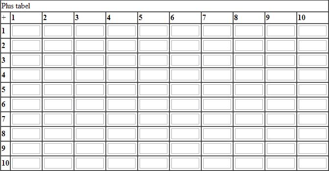 Plus tabel (st�rrelse 10*10)